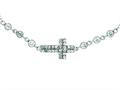 Silver with Rhodium Finish Shiny Cable Chain Small Cross Necklace with White Cubic Zirconia