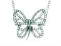 Silver with Rhodium Finish Shiny Cable Chain Butterfly Necklace with White Cubic Zirconia