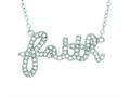 "Silver with Rhodium Finish Shiny Cable Chain ""Faith"" Pendant with White Cubic Zirconia"