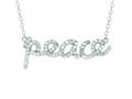"Silver with Rhodium Finish Shiny Cable Chain ""Peace"" Pendant with White Cubic Zirconia"