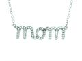 "Silver with Rhodium Finish Shiny Cable Chain ""Mom"" Pendant with White Cubic Zirconia"