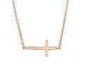 Silver with Rose Finish Shiny Sideways Cross Anchored On Cable Link Necklace