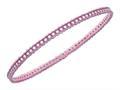 Silver with Rose Finish Shiny Ridged Edge Slightly Concaved Slip On Bangle with White Cubic Zirconia