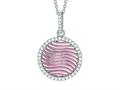 "Silver 18"" Rhodium Finish Rose Mesh Puffed Round Pendant Trimmed with Micropave Cubic Zirconia"
