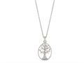 "Silver 18"" Rhodium Finish Open Oval Pendant"