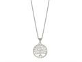 "Silver 18"" Rhodium Finish Open Round Pendant"