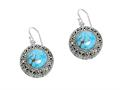 Sterling Silver Simulated Turquoise Round Drop Earrings