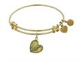 "Angelica Collection Antique Yellow Stipple Finish Brass ""daughter Heart"" Expandable Bangle"
