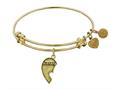 """Antique Yellow Stipple Finish Brass Left-half Heart """"sisters"""" Angelica Expandable Bangle"""