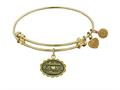"Antique Yellow Stipple Finish Brass ""matron Of Honor"" Angelica Expandable Bangle"