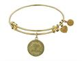 "Antique Yellow Stipple Finish Brass ""maid Of Honor "" Angelica Expandable Bangle"