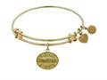 """Non-antique Yellow Stipple Finish Brass """"godmother """" Angelica Expandable Bangle"""