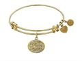 "Angelica Collection Non-antique Yellow Stipple Finish Brass ""niece"" Expandable Bangle"
