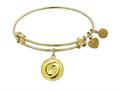 """Non-antique Yellow Stipple Finish Brass """"yin And Yang"""" Angelica Expandable Bangle"""
