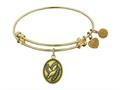"Antique Yellow Smooth Finish Brass ""dove With Olive Branch+peace"" Angelica Expandable Bangle"