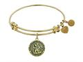 "Angelica Antique Yellow Stipple Finish Brass ""saint Christopher"" Expandable Bangle"