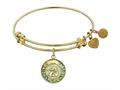 "Angelica Antique Yellow Stipple Finish Brass ""angel; Faith,  Hope, Love"" Expandable Bangle"