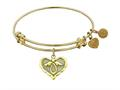 """Angelica Antique Yellow Stipple Finish Brass """"angel""""  Expandable Bangle"""