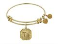 "Non-antique Yellow Stipple Finish Brass ""think Positive"" Angelica Expandable Bangle"
