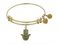 """Angelica Collection Antique Yellow Stipple Finish Brass """"hamsa"""" Expandable Bangle"""