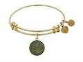 "Antique Yellow Smooth Finish Brass ""longevity"" Symbol Angelica Expandable Bangle"