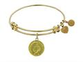"Non-antique Yellow Stipple Finish Brass ""laurel Wreath"" Angelica Expandable Bangle"