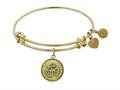 "Angelica Antique Yellow Stipple Finish Brass ""om""  Expandable Bangle"