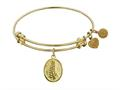 """Non-antique Yellow Stipple Finish Brass """"faith And  Trust"""" Angelica Expandable Bangle"""