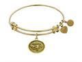 "Antique Yellow Stipple Finish Brass ""eye Of Horus""  Angelica Expandable Bangle"
