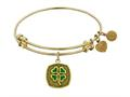"Antique Yellow Stipple Finish Brass ""four Leaf Clover"" --enamel Angelica Expandable Bangle"