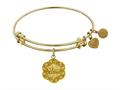 """Antique Yellow Stipple Finish Brass """"mom"""" On 7-leaf"""" Flower Like Charm Angelica Expandable Bangle"""