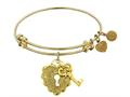 "Non-antique Yellow Stipple Finish Brass ""key To My Heart"" Angelica Expandable Bangle"