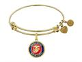 Brass with Yellow Finish Enamel Round U.S. Marine Corps Angelica Expandable Bangle