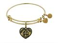 Brass with Yellow Finish Proud Wife U.S. Navy Heart Shaped Angelica Expandable Bangle