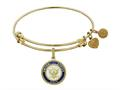 Brass with Yellow Finish Enamel U.S. Navy Round Angelica Expandable Bangle