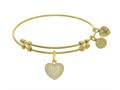 Brass With Yellow Finish CZ Heart Charm On Yellow Angelica Collection Bangle