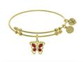 """Angelica Collection Brass With Yellow Butterfly Charm With Red and White CZ""""z On Yellow Bangle"""