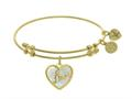 "Angelica Collection Brass With Yellow ""love"" Heart Charm With Created Mother Of Pearl On Yellow Bangle"