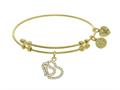 Brass With Yellow Double Heart Charm With White Cz On White Bangle