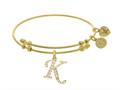 Brass With Yellow Finish  Initial K  Charm For Angelica Collection Bangle