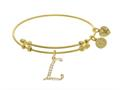 Brass With Yellow Finish  Initial L Charm For Angelica Collection Bangle