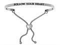 "Stainless Steel ""follow Your Heart""adjustable Friendship Bracelet"