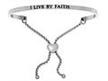 "Stainless Steel ""i Live By Faith""adjustable Friendship Bracelet"