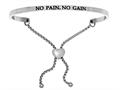 "Stainless Steel ""no Pain, No Gain""adjustable Friendship Bracelet"