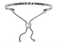 "Stainless Steel ""patience Is A Virtue""adjustable Friendship Bracelet"