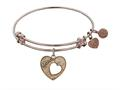 """Antique Pink Stipple Finish Brass Heart With """"mom And Open Heart"""" Angelica Expandable Bangle"""