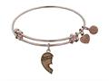 "Antique Pink Stipple Finish Brass Left-half Heart ""sisters"" Angelica Expandable Bangle"