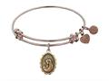 "Antique Pink Stipple Finish Brass ""a Mother""s Love "" Angelica Expandable Bangle"