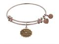"Antique Pink Stipple Finish Brass ""matron Of Honor "" Angelica Expandable Bangle"
