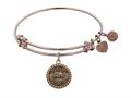 """Antique Pink Stipple Finish Brass """"aunt"""" Angelica  Expandable Bangle"""
